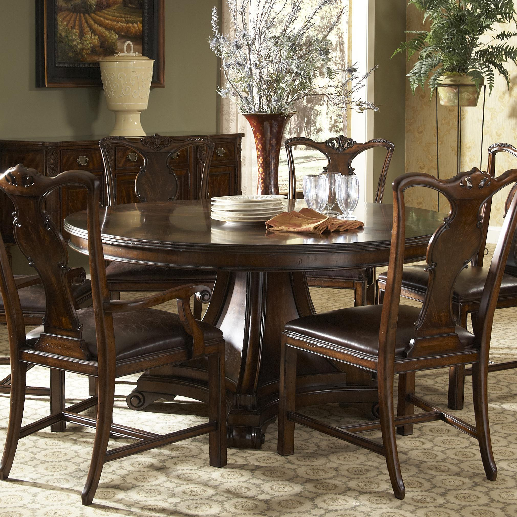 Traditional Round Dining Table With Inlayfine With Regard To 2017 Classic Dining Tables (View 3 of 15)