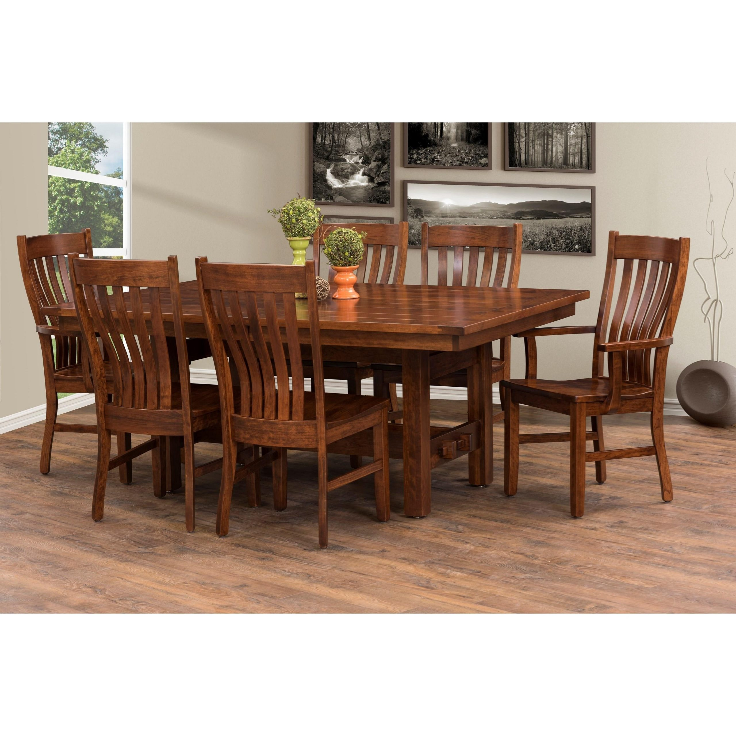 """Trailway Amish Sutter Mills 48 X 72"""" Trestle Dining Table With Regard To Most Recently Released 72"""" L Breakroom Tables And Chair Set (View 11 of 15)"""