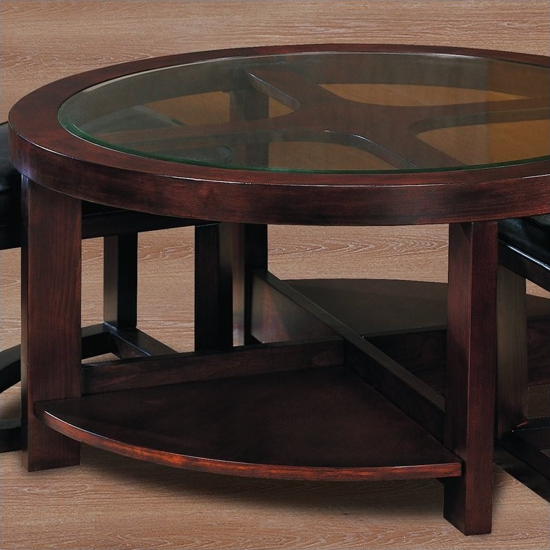 Trent Home Redell Round Cocktail Table With 2 Ottomans And Pertaining To Recent Collis Round Glass Breakroom Tables (View 4 of 15)