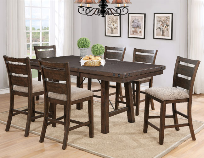 Trestle Antique Brown Counter Height Dining Table Inside Current Mciver Counter Height Dining Tables (View 10 of 15)