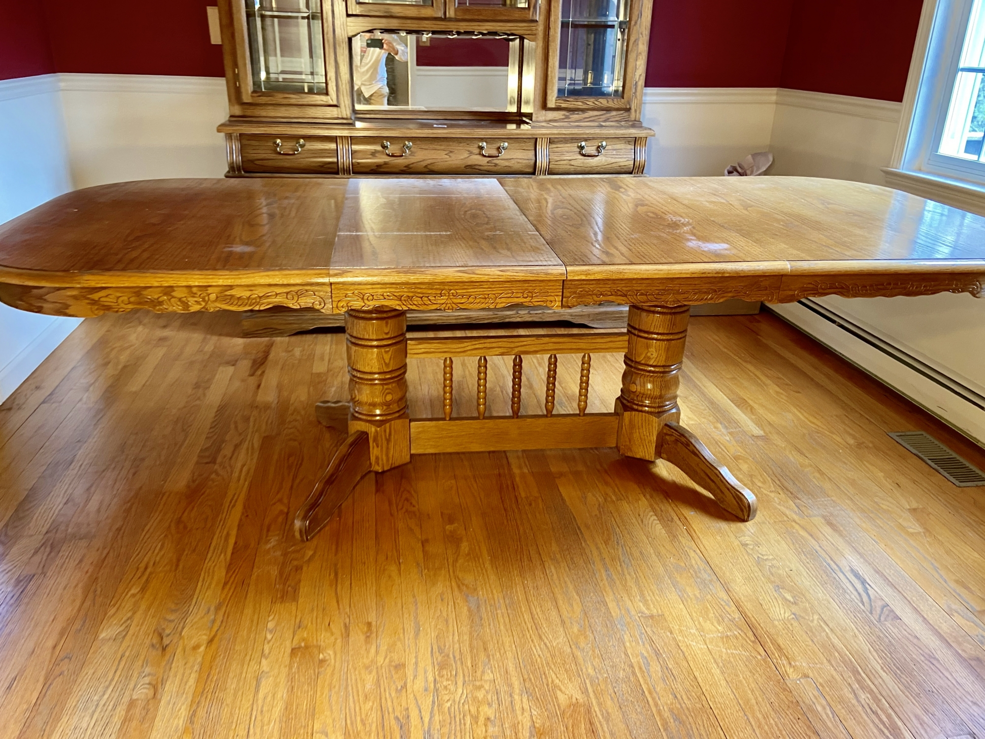 Trestle Style Oak Dining Table With Two Extension Leaves Intended For Most Recent Haddington 42'' Trestle Dining Tables (Photo 7 of 15)