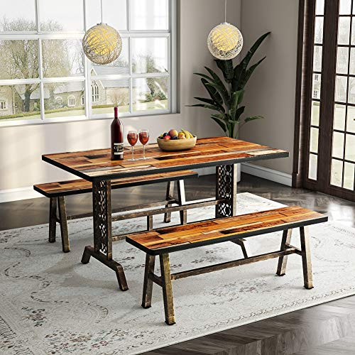 Tribesigns Dining Table With Two Benches, 3 Pieces Dining Throughout Current Desiree (View 5 of 15)