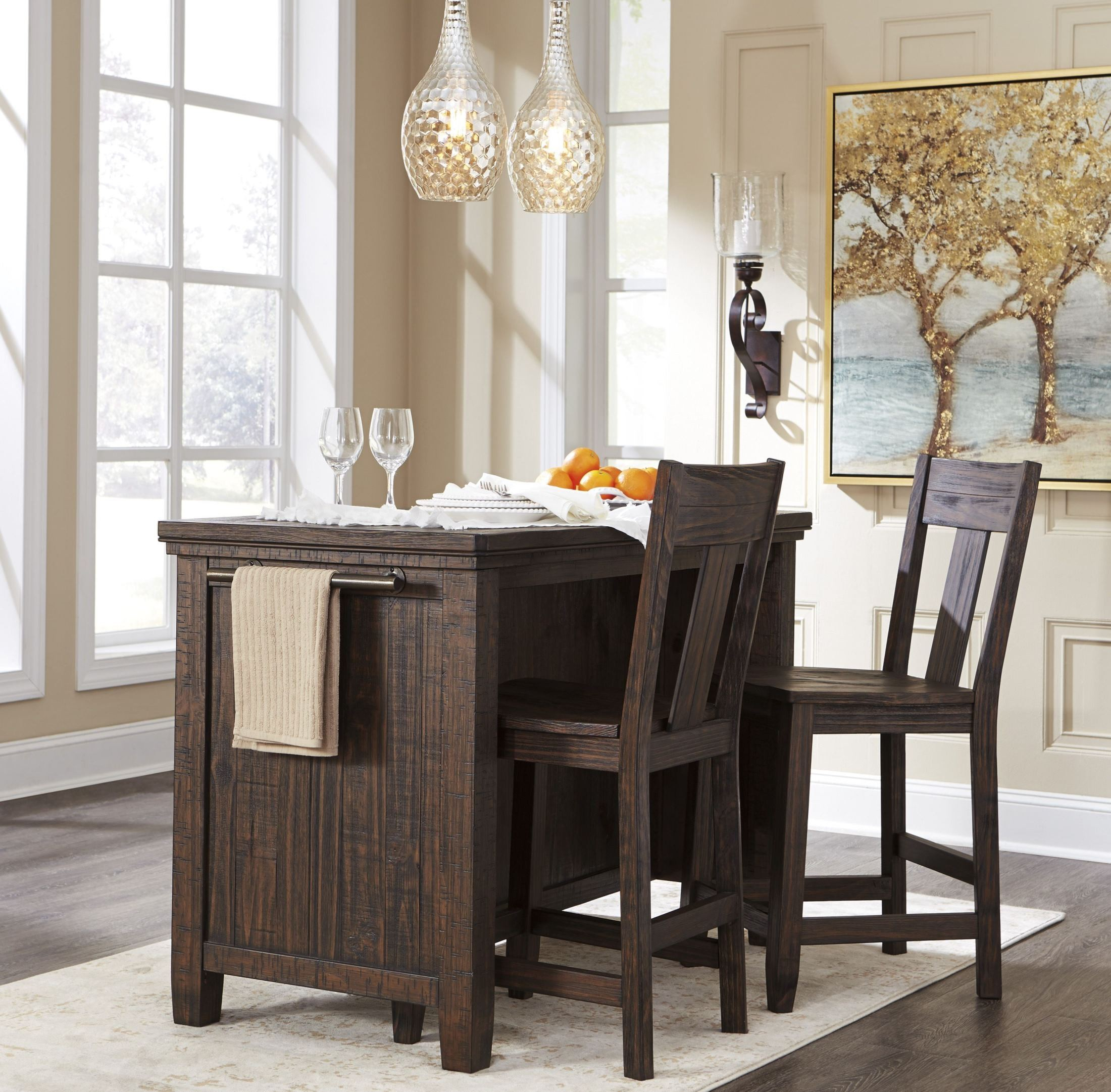 Trudell Dark Brown Rectangular Storage Counter Height Regarding Most Recent Desloge Counter Height Trestle Dining Tables (View 14 of 15)