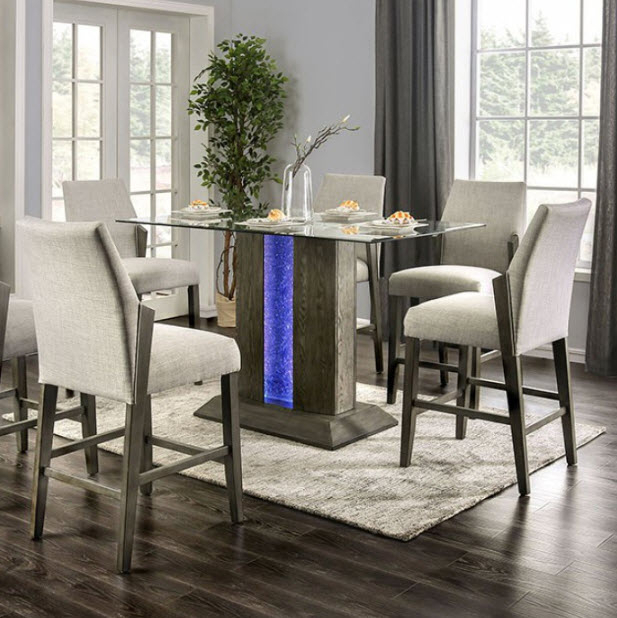 Turton Ii Led Pedestal Counter Height Dining Table Regarding Most Recently Released Dawid Counter Height Pedestal Dining Tables (View 7 of 15)