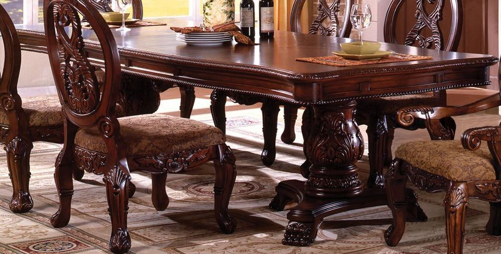 Tuscany I Antique Cherry Rectangular Extendable Double For Most Current 28'' Pedestal Dining Tables (View 6 of 15)