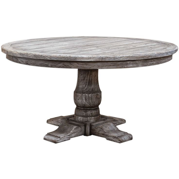 Urban Driftwood Round Pedestal Table – Weathered Driftwood With Best And Newest Sevinc Pedestal Dining Tables (View 8 of 15)
