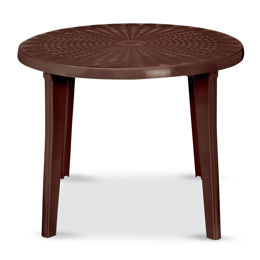 Us Leisure 38 In X 38 In Resin Round Patio Dining Table At For Most Popular Hetton 38'' Dining Tables (View 2 of 15)