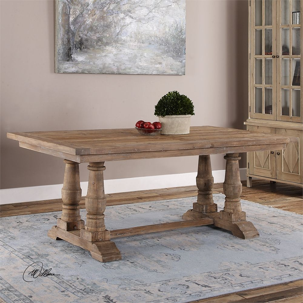 Uttermost Stratford Salvaged Wood Dining Table 76 X 43 Intended For Best And Newest Minerva 36'' Pine Solid Wood Trestle Dining Tables (View 10 of 15)