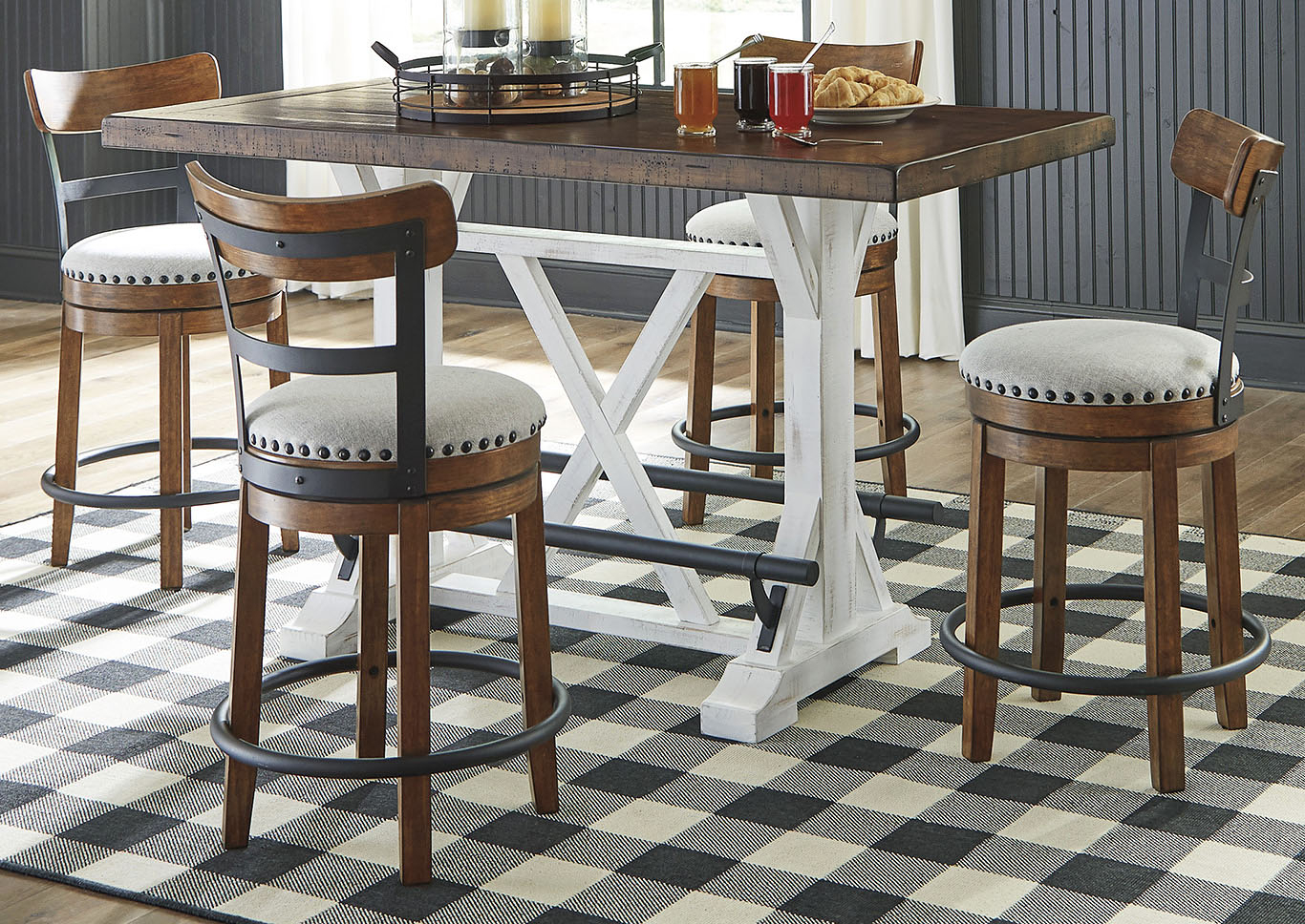 Valebeck Brown Counter Height Dining Table W/4 Backed Within Current Shoaib Counter Height Dining Tables (Photo 15 of 15)