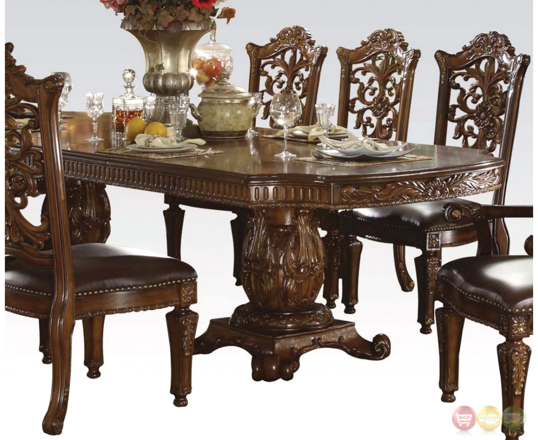 """Vendome Traditional Formal Double Pedestal 85"""" 121"""" Dining With Latest Villani Pedestal Dining Tables (View 5 of 15)"""