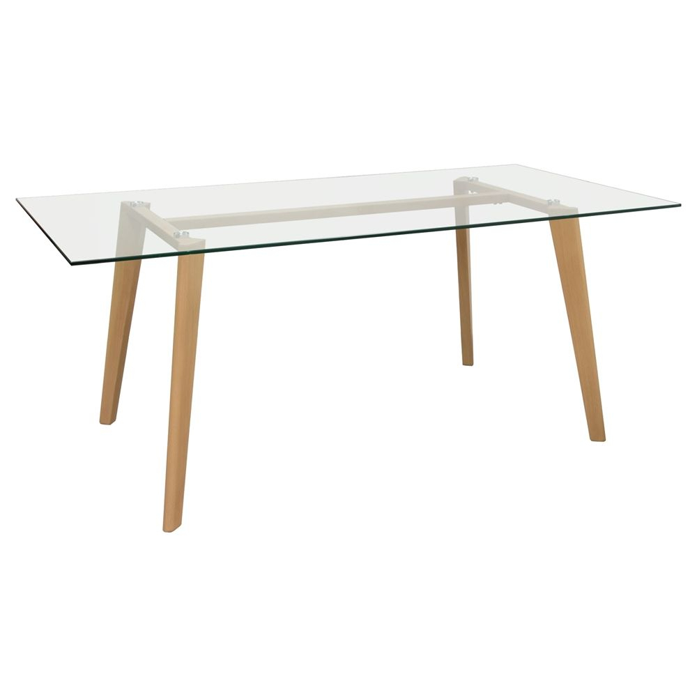 Verb Rectangular Dining Table – Glass Top, Oak, Clear Pertaining To Latest Conerly  (View 3 of 15)