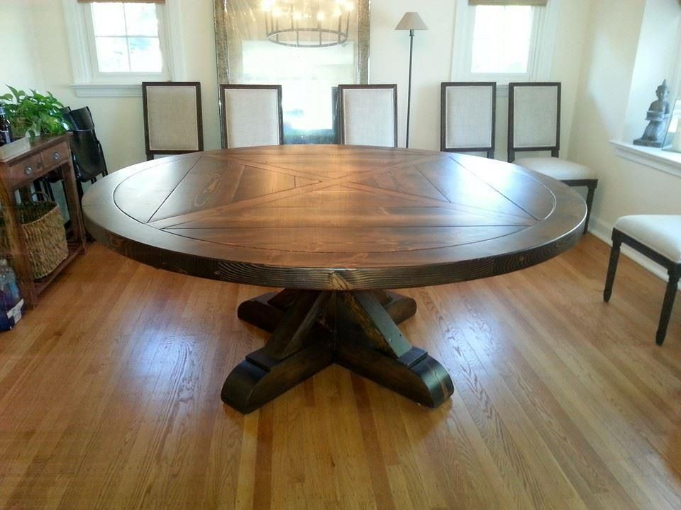 Very Nice Amish Table | Round Wood Dining Table, Round Regarding Best And Newest Monogram 48'' Solid Oak Pedestal Dining Tables (View 10 of 15)