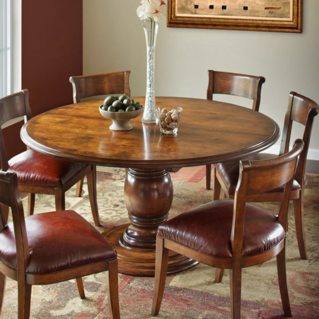 Vineyard Single Pedestal Table | Martin'S Furniture Regarding Newest Gaspard Extendable Maple Solid Wood Pedestal Dining Tables (View 11 of 15)