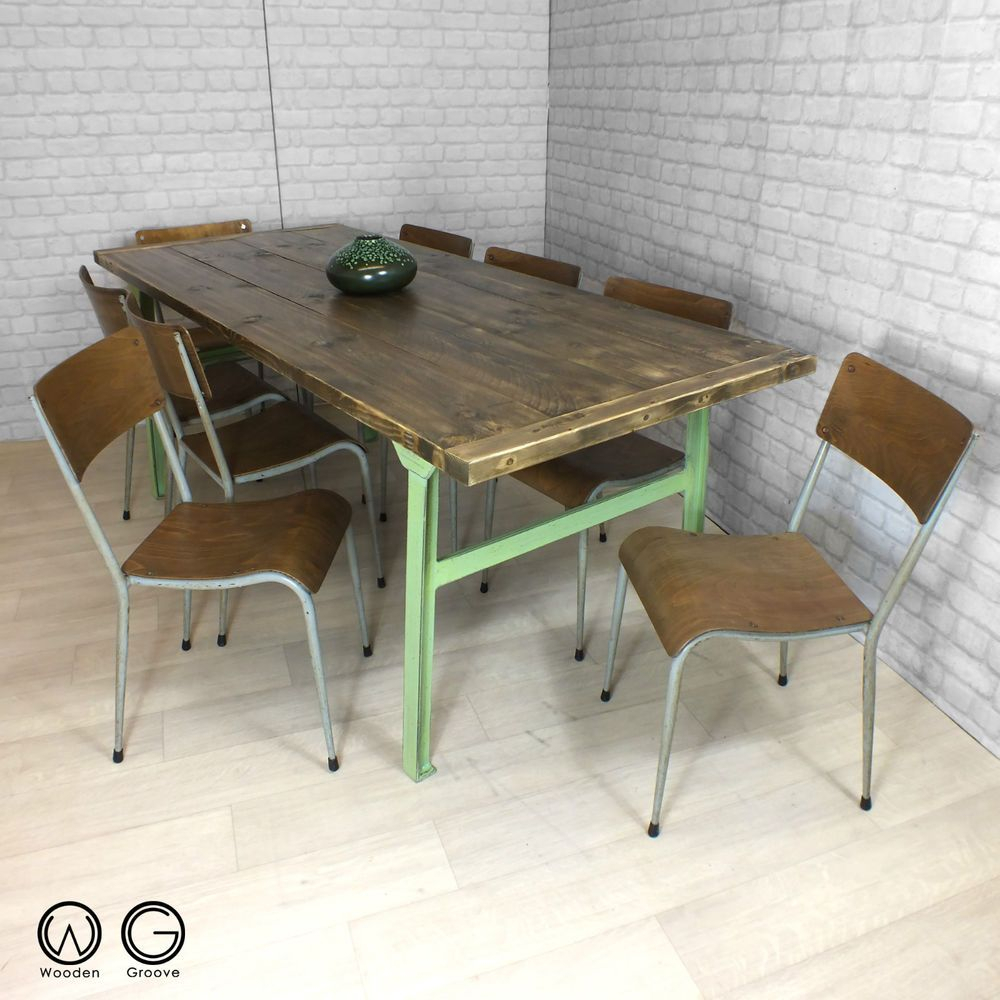 Vintage Industrial Cast Iron Reclaimed Rustic Timber Throughout Latest Dellaney 35'' Iron Dining Tables (View 14 of 15)
