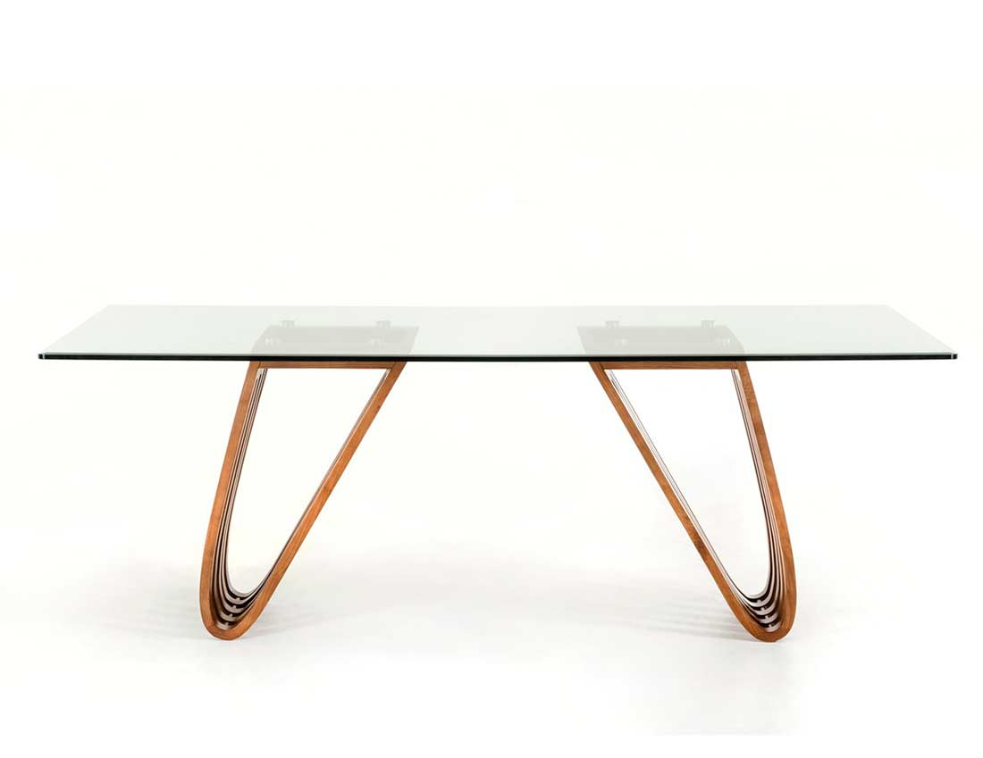 Walnut And Glass Dining Table Vg 498 | Modern Dining In Most Current Drew (View 11 of 15)