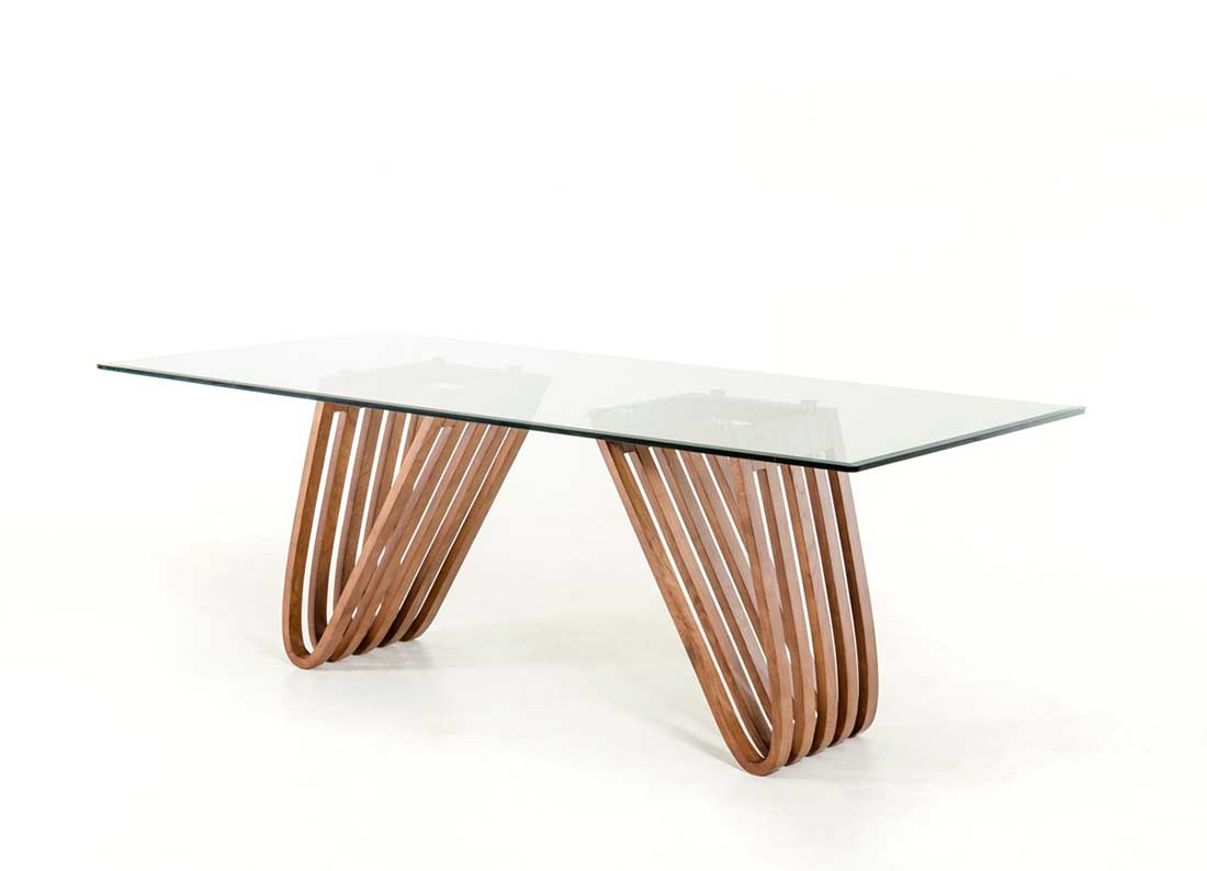 Walnut And Glass Dining Table Vg 498 | Modern Dining With Regard To 2017 Drew (View 9 of 15)