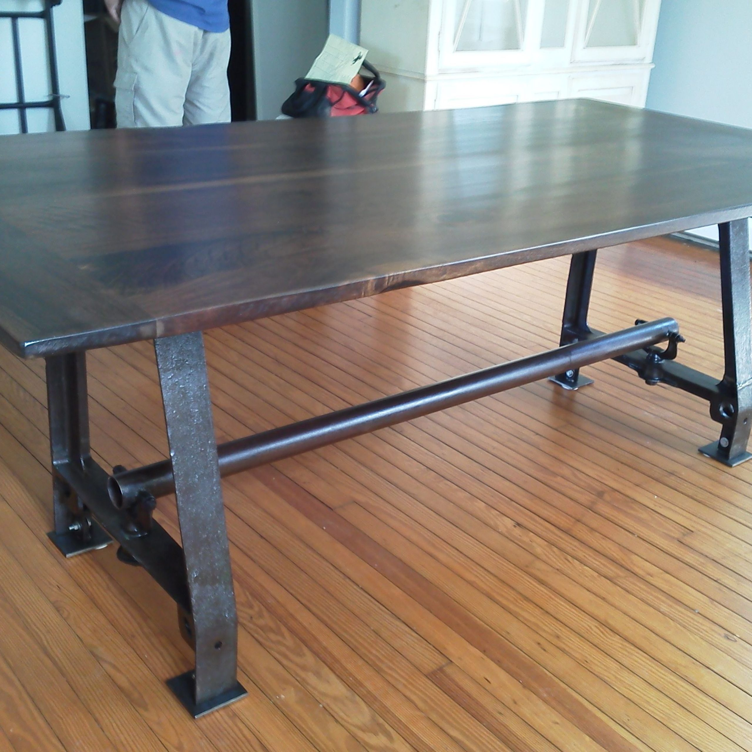 Walnut Top With Industrial Iron Base Salvaged From The Inside Best And Newest Deonte 38'' Iron Dining Tables (View 2 of 15)