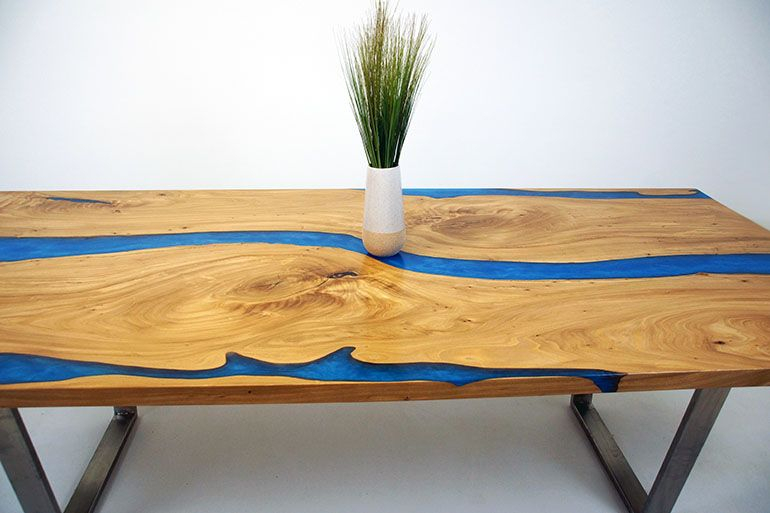 White Oak Dining Room Table With Blue Epoxy Resin River In In 2018 Anzum (View 15 of 15)