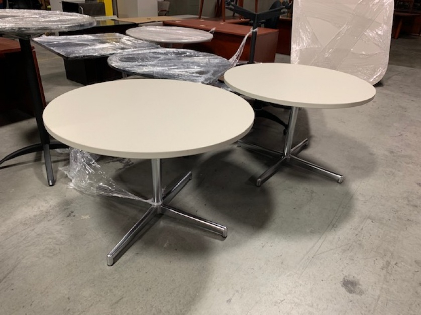 White Round Breakroom Tables With Chrome Base | Aoli Inside 2017 Mode Round Breakroom Tables (View 14 of 15)