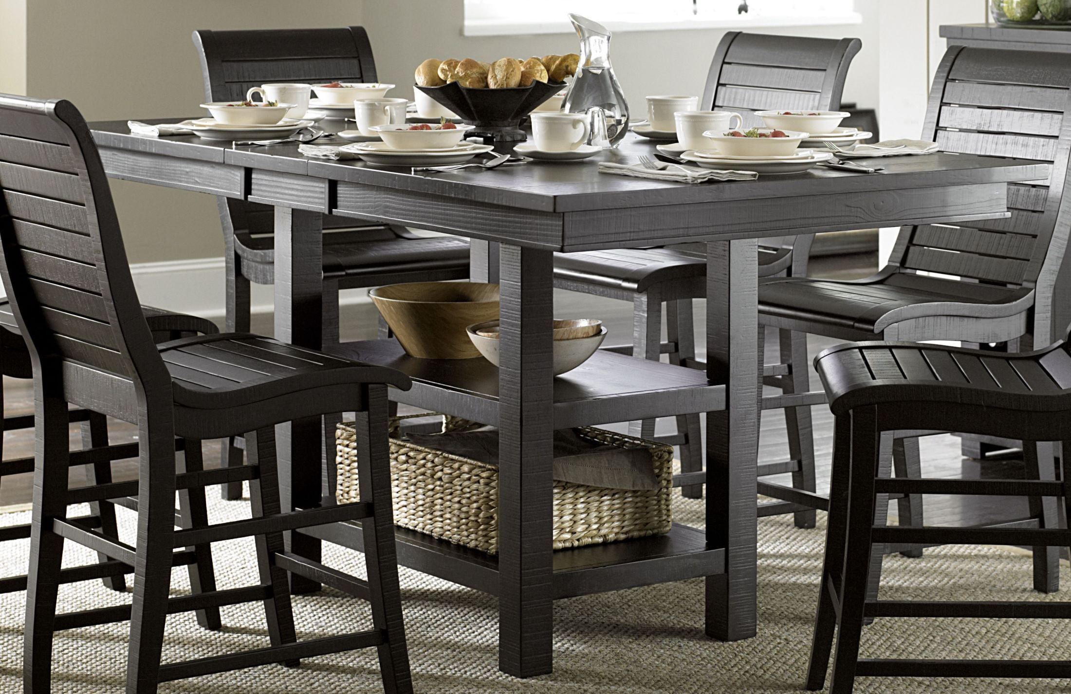Willow Distressed Black Rectangular Counter Height Dining With 2017 Andrenique Bar Height Dining Tables (View 2 of 15)