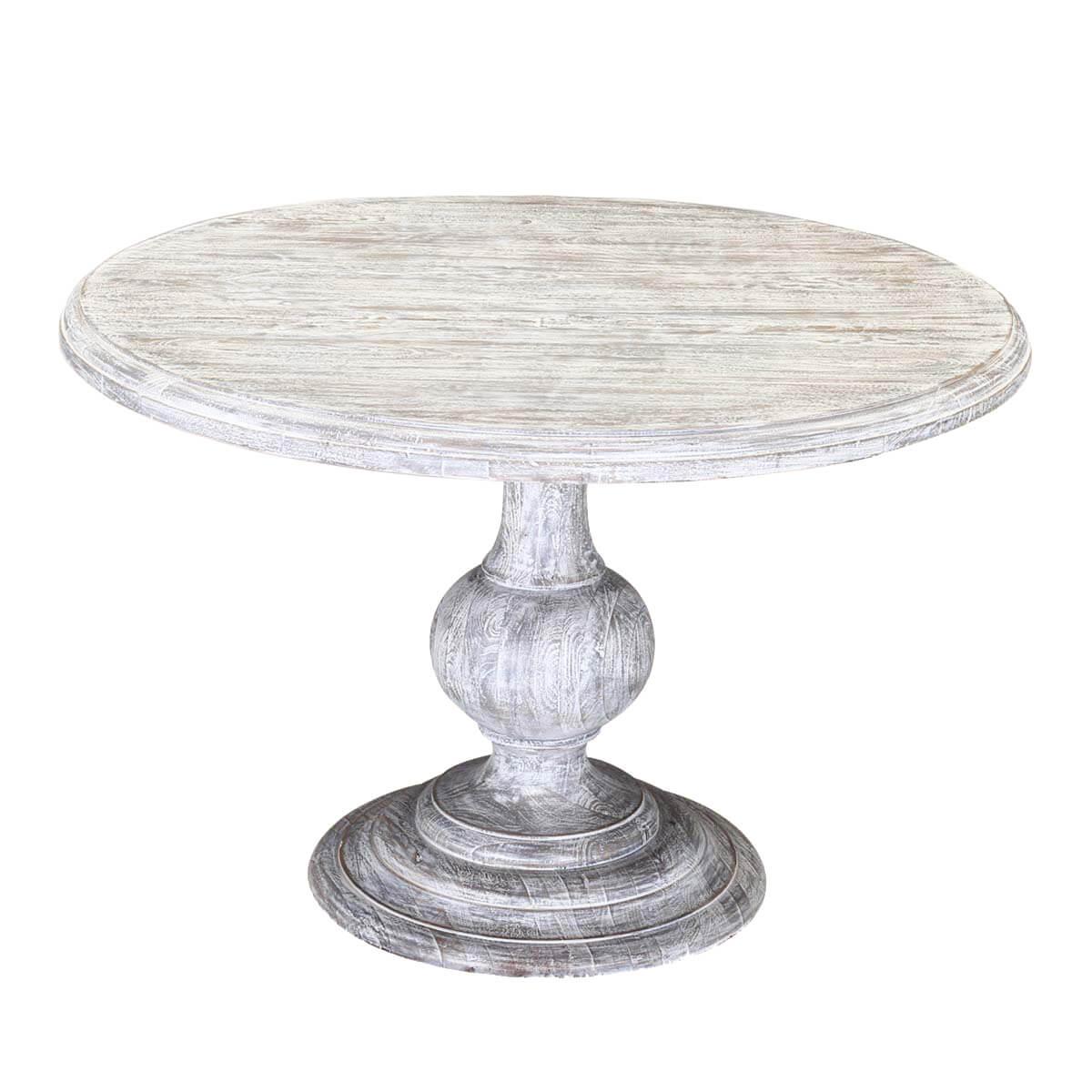 "Winter White Mango Wood 48"" Round Pedestal Dining Table Pertaining To 2018 Tabor 48'' Pedestal Dining Tables (View 12 of 15)"
