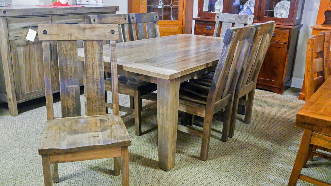 Wormy Maple Tahoe Table Set With Hartwick Chairs – Lloyd'S Intended For Recent Drake Maple Solid Wood Dining Tables (View 5 of 15)