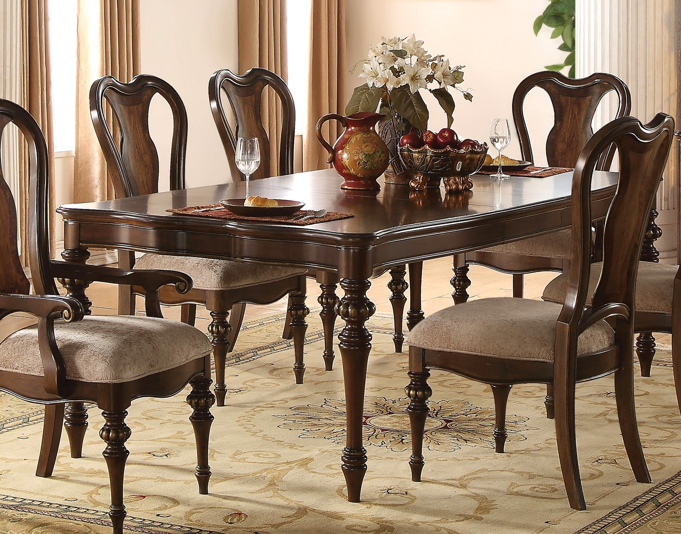 """York Traditional 78""""  94"""" Formal Dining Table In Dark For Best And Newest Classic Dining Tables (View 4 of 15)"""