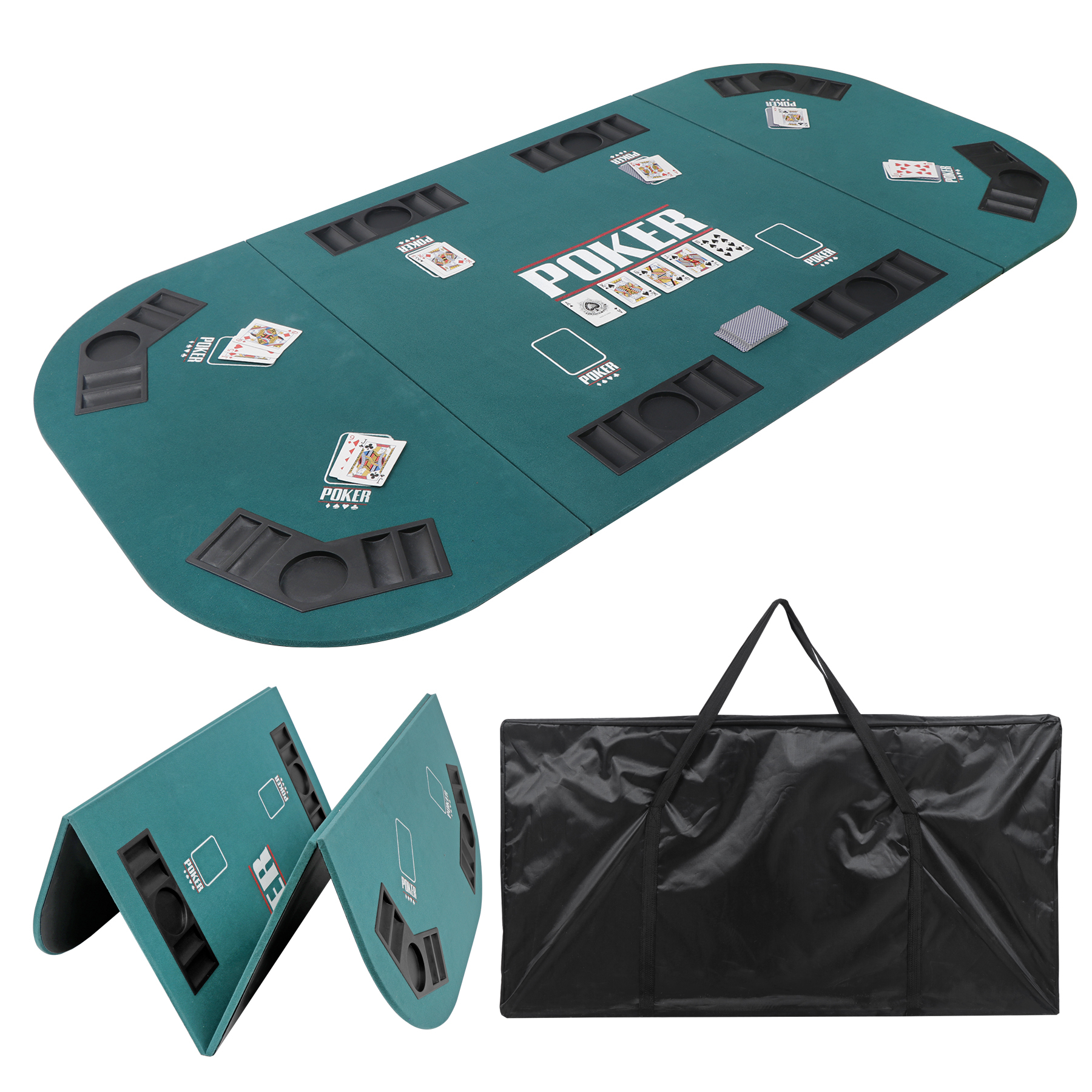 """Zeny Folding Poker Table Top Portable For 8 Casino Player Inside 2017 48"""" 6 – Player Poker Tables (View 4 of 15)"""