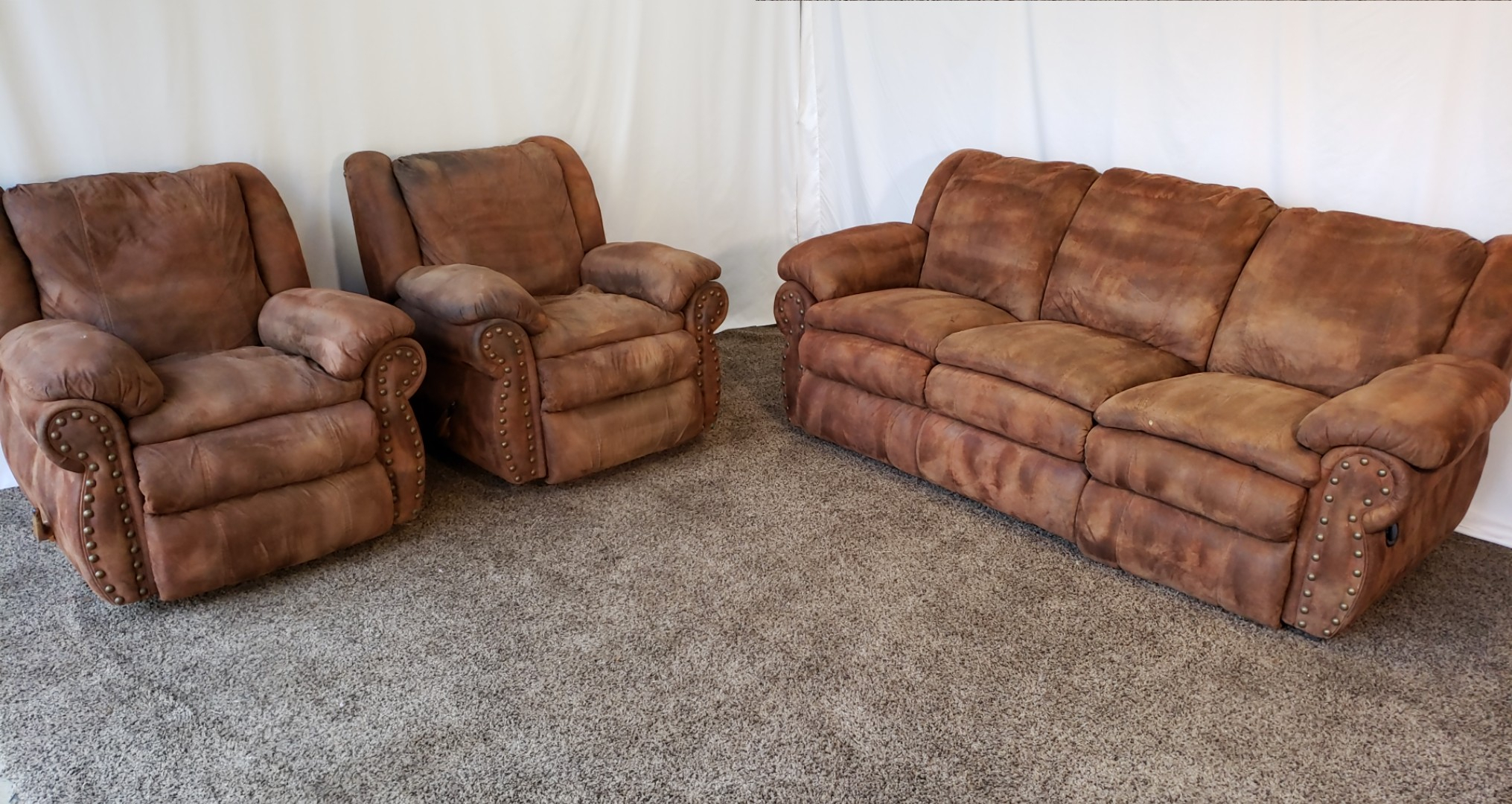 #1595 – Professionally Cleaned Rustic Brown Palomino Pertaining To Brown Sofa Chairs (View 9 of 15)