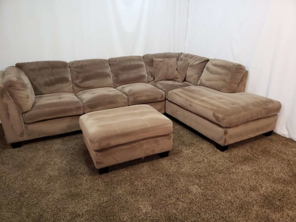 #1655 – 3 Piece Brown Microfiber Sectional Sofa With An Within 3Pc Polyfiber Sectional Sofas (View 8 of 15)
