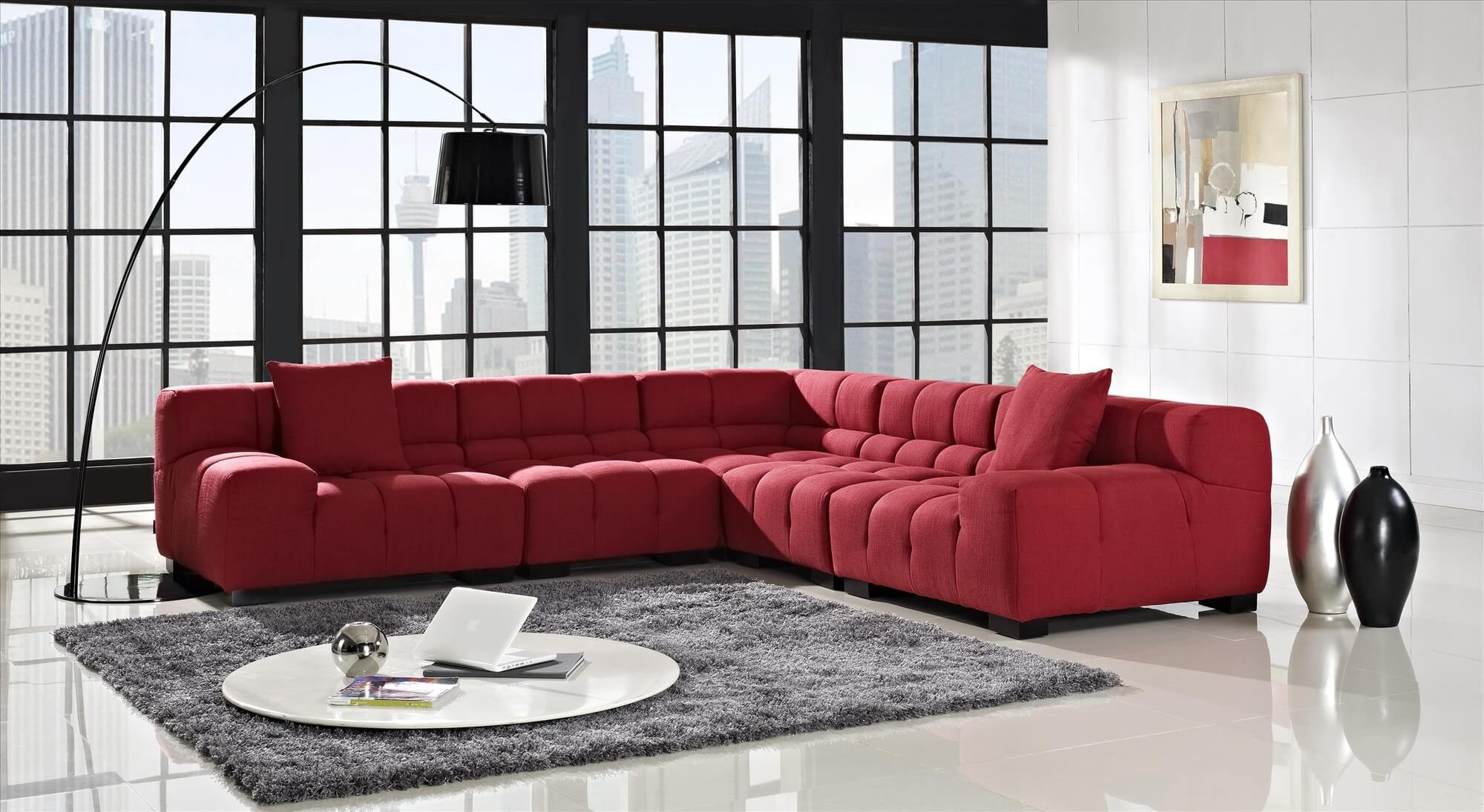 18 Stylish Modern Red Sectional Sofas Pertaining To Mireille Modern And Contemporary Fabric Upholstered Sectional Sofas (View 13 of 15)