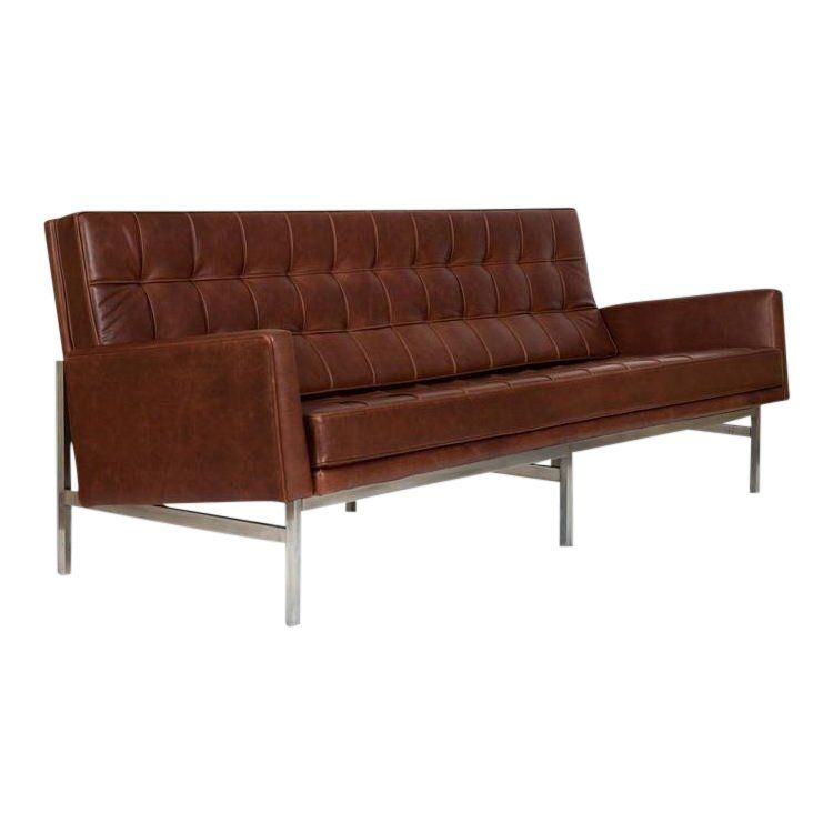 1955 Florence Knoll Model 2577 Brown Leather Sofa Pertaining To Florence Knoll Living Room Sofas (View 9 of 15)