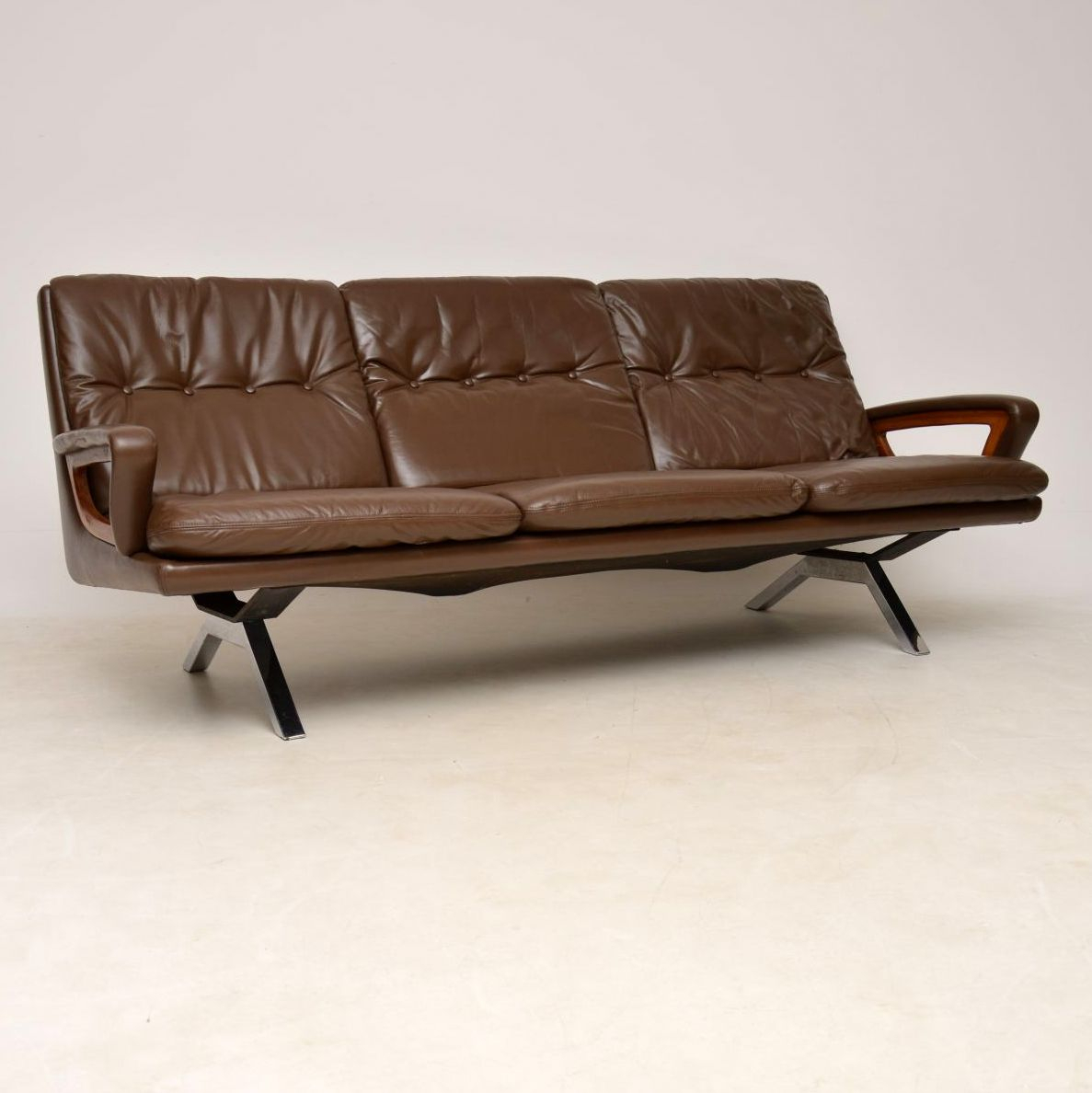 1960'S Danish Vintage Leather Teak And Chrome Sofa Within Retro Sofas And Chairs (View 5 of 15)