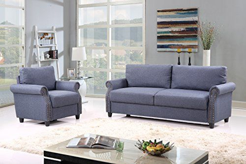 2 Piece Classic Linen Fabric Living Room Sofa And Armchair Pertaining To 2Pc Polyfiber Sectional Sofas With Nailhead Trims Gray (View 13 of 15)