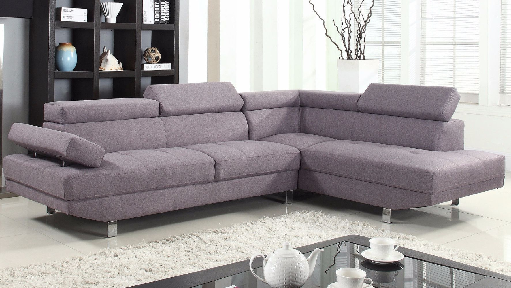 2 Piece Modern Linen Fabric Right Facing Chaise Sectional Throughout Polyfiber Linen Fabric Sectional Sofas Dark Gray (View 6 of 15)