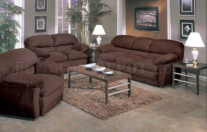 2 Piece Oversized Sofa & Loveseat Set In Espresso Micro Suede For Sofas And Chairs (View 12 of 15)