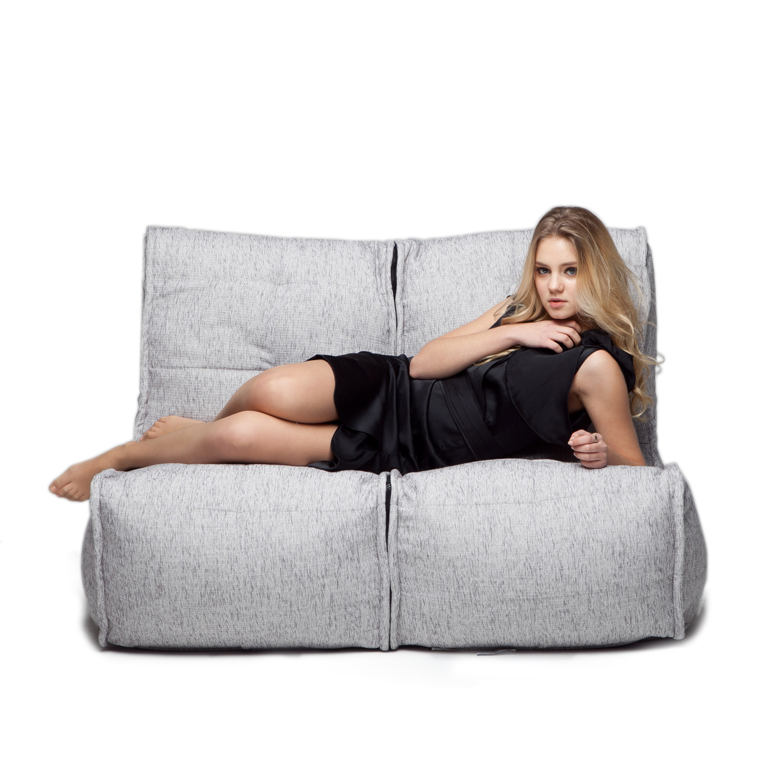 2 Seater Grey Sofa | Designer Bean Bag Couch | Grey Fabric Pertaining To Bean Bag Sofas And Chairs (Photo 10 of 15)