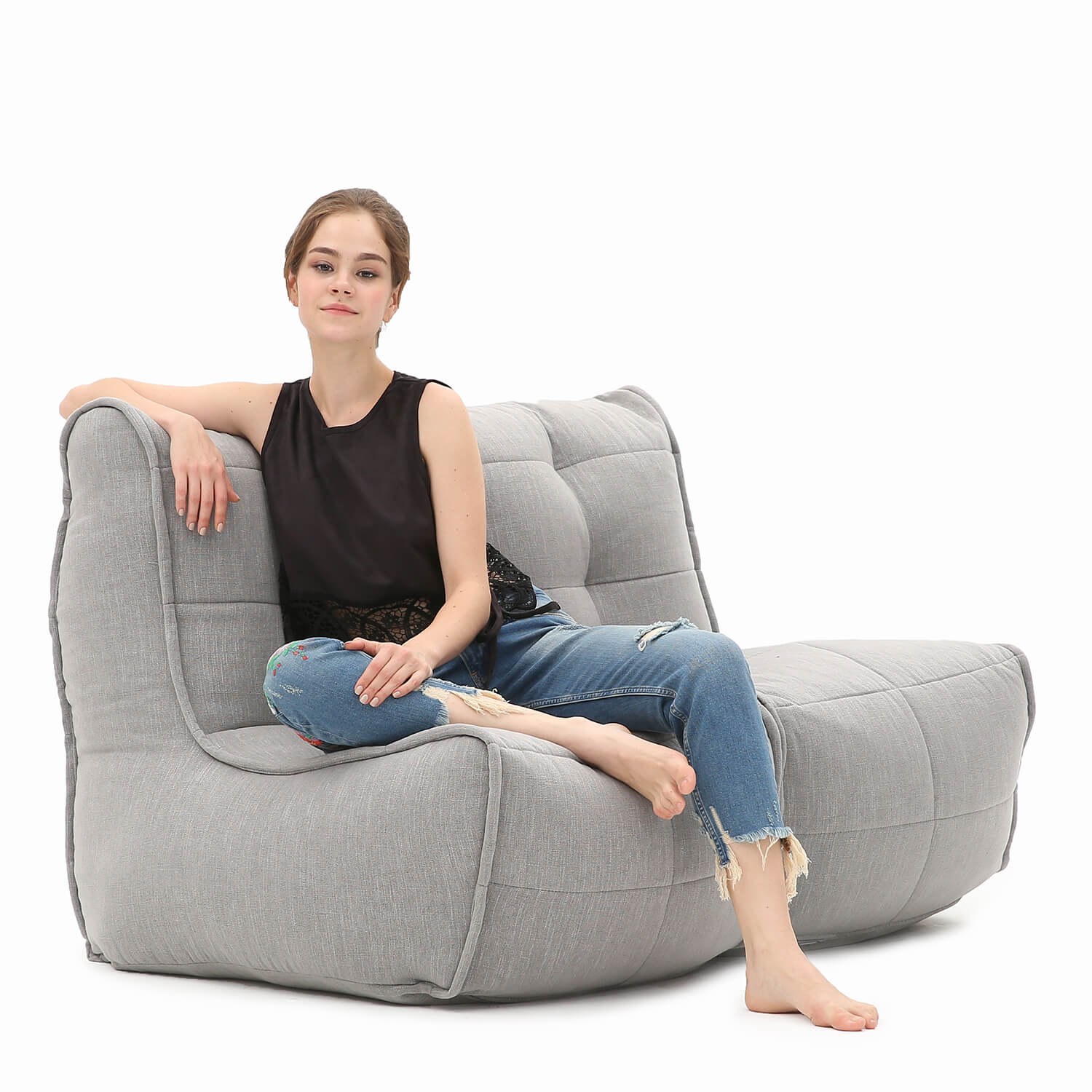 2 Seater Grey Sofa | Designer Bean Bag Couch | Keystone With Bean Bag Sofas And Chairs (Photo 9 of 15)