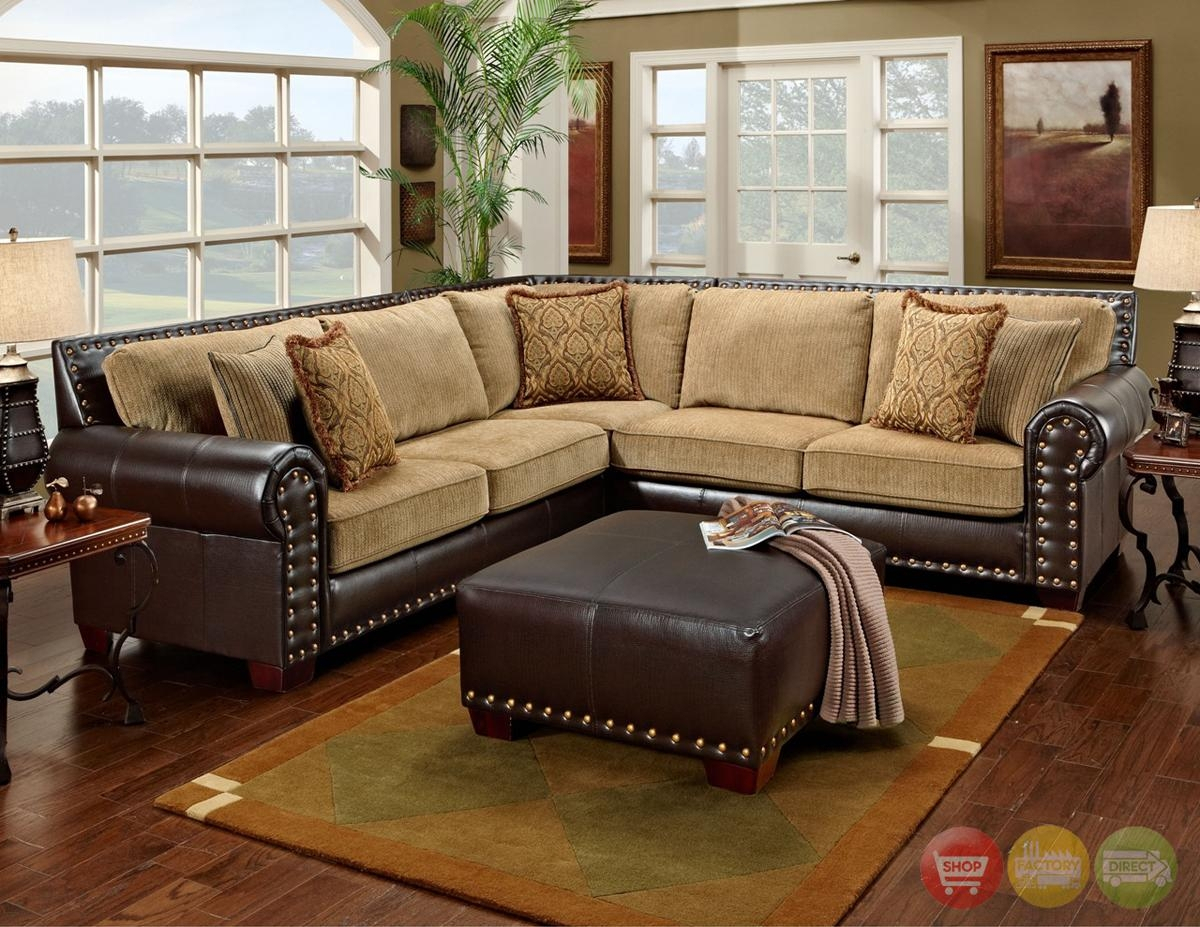20+ Choices Of Brown Leather Sofas With Nailhead Trim Within 2Pc Polyfiber Sectional Sofas With Nailhead Trims Gray (View 8 of 15)