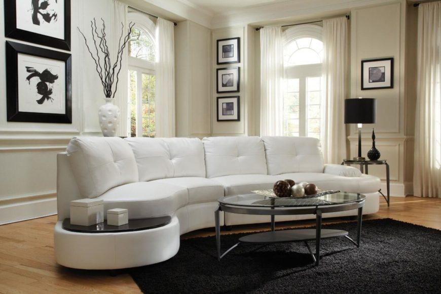 25 Contemporary Curved And Round Sectional Sofas Regarding Bonded Leather All In One Sectional Sofas With Ottoman And 2 Pillows Brown (View 7 of 15)