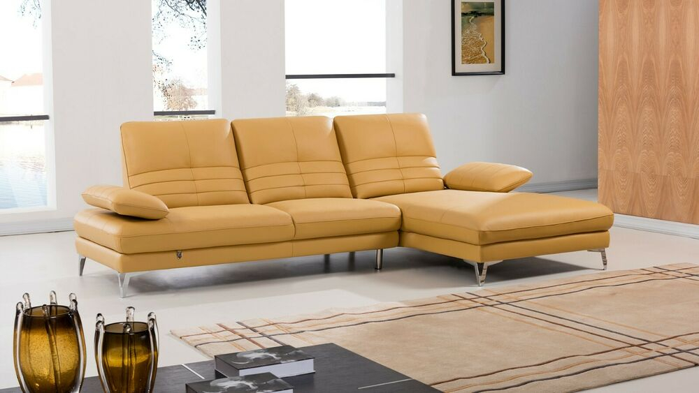 2Pc Modern Yellow Italian Top Grain Leather Sofa Chaise In 2Pc Burland Contemporary Chaise Sectional Sofas (View 9 of 15)