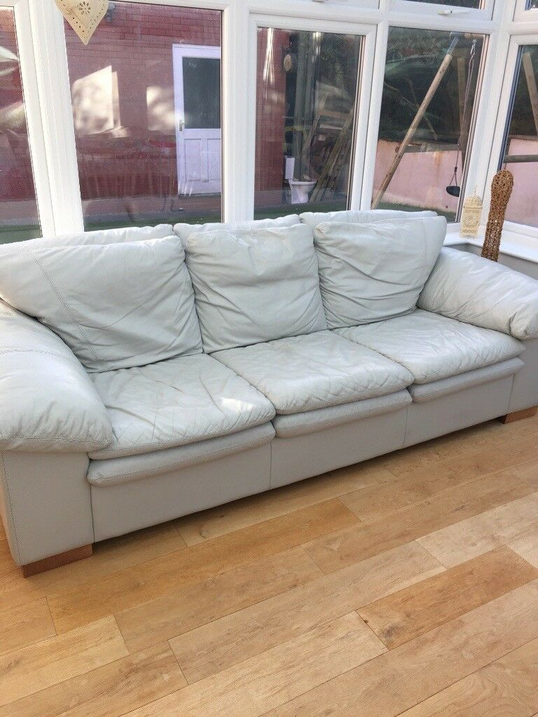 3/4 Seat Light Grey Leather Sofa | In Bowerhill, Wiltshire Throughout 4 Seat Leather Sofas (View 7 of 15)