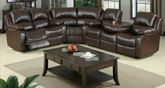 3 Pc Jerome Collection Brown Bonded Leather Upholstered In 3Pc Bonded Leather Upholstered Wooden Sectional Sofas Brown (View 11 of 15)