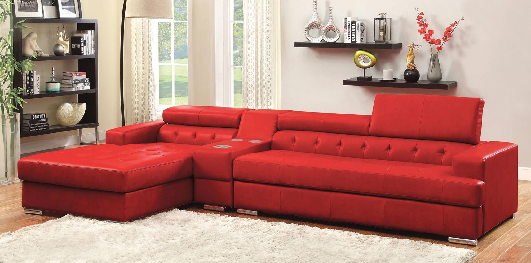 3 Pcs Red Leather Sofa Set With Console Intended For Red Sofas (View 4 of 15)