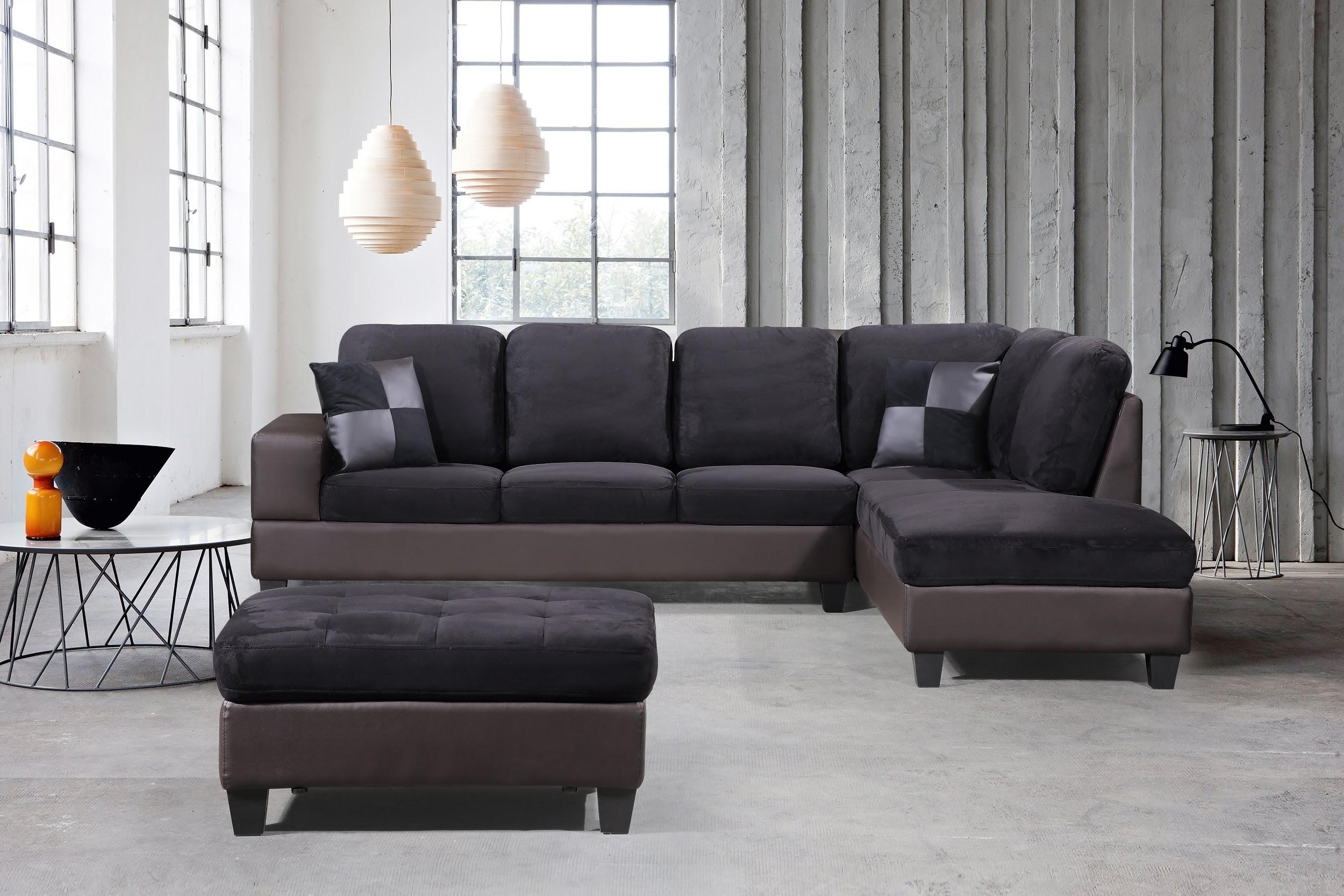 3 Piece Modern Right Microfiber / Faux Leather Sectional With Regard To 3Pc Polyfiber Sectional Sofas (View 11 of 15)