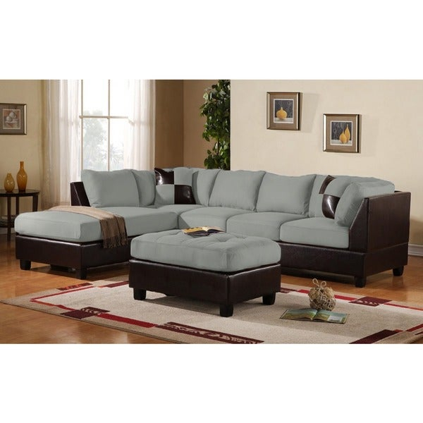 3 Piece Modern Soft Reversible Grey Microfiber And Faux For 2Pc Luxurious And Plush Corduroy Sectional Sofas Brown (View 7 of 15)