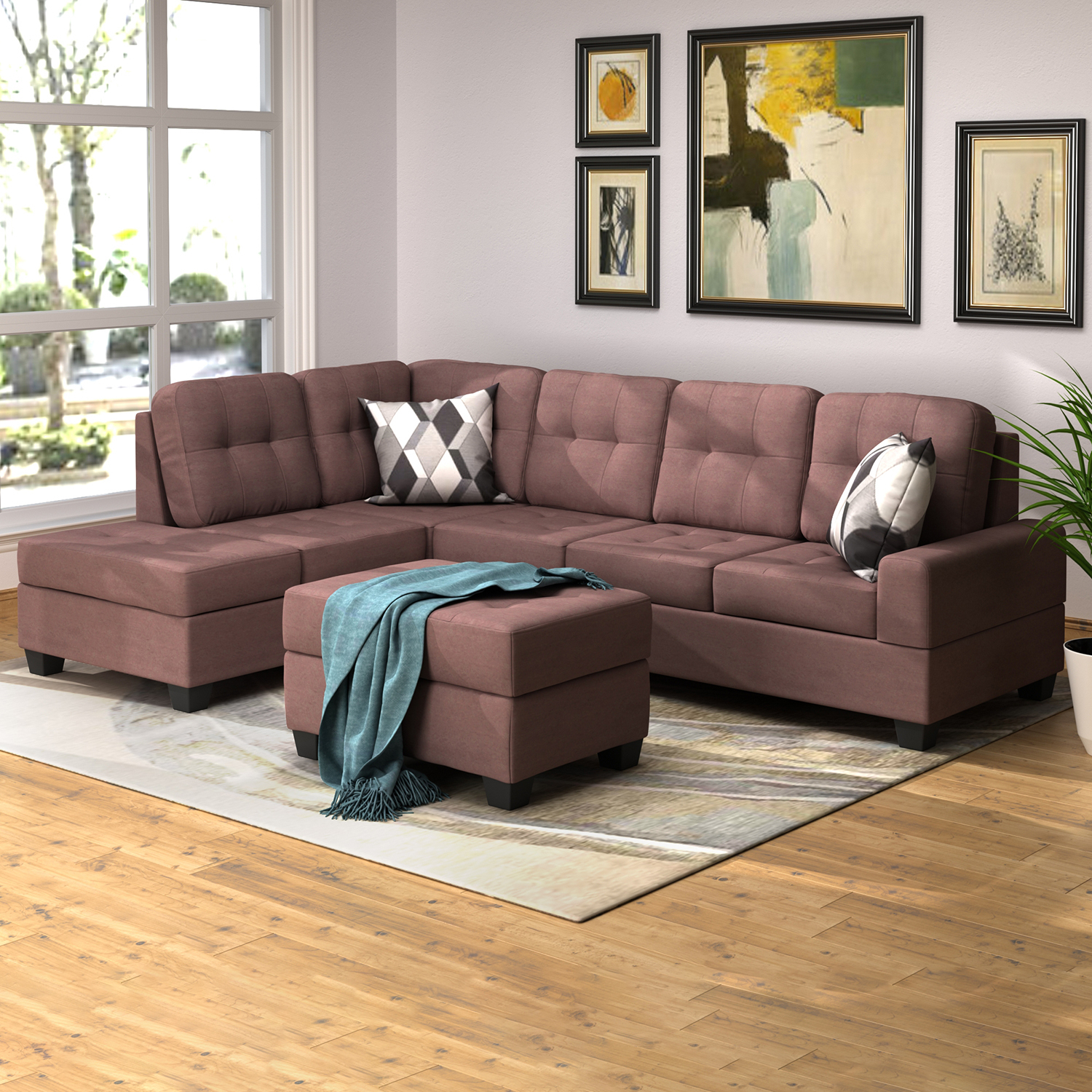 3 Piece Sectional Sofa Microfiber With Reversible Chaise Intended For Copenhagen Reversible Small Space Sectional Sofas With Storage (View 4 of 15)