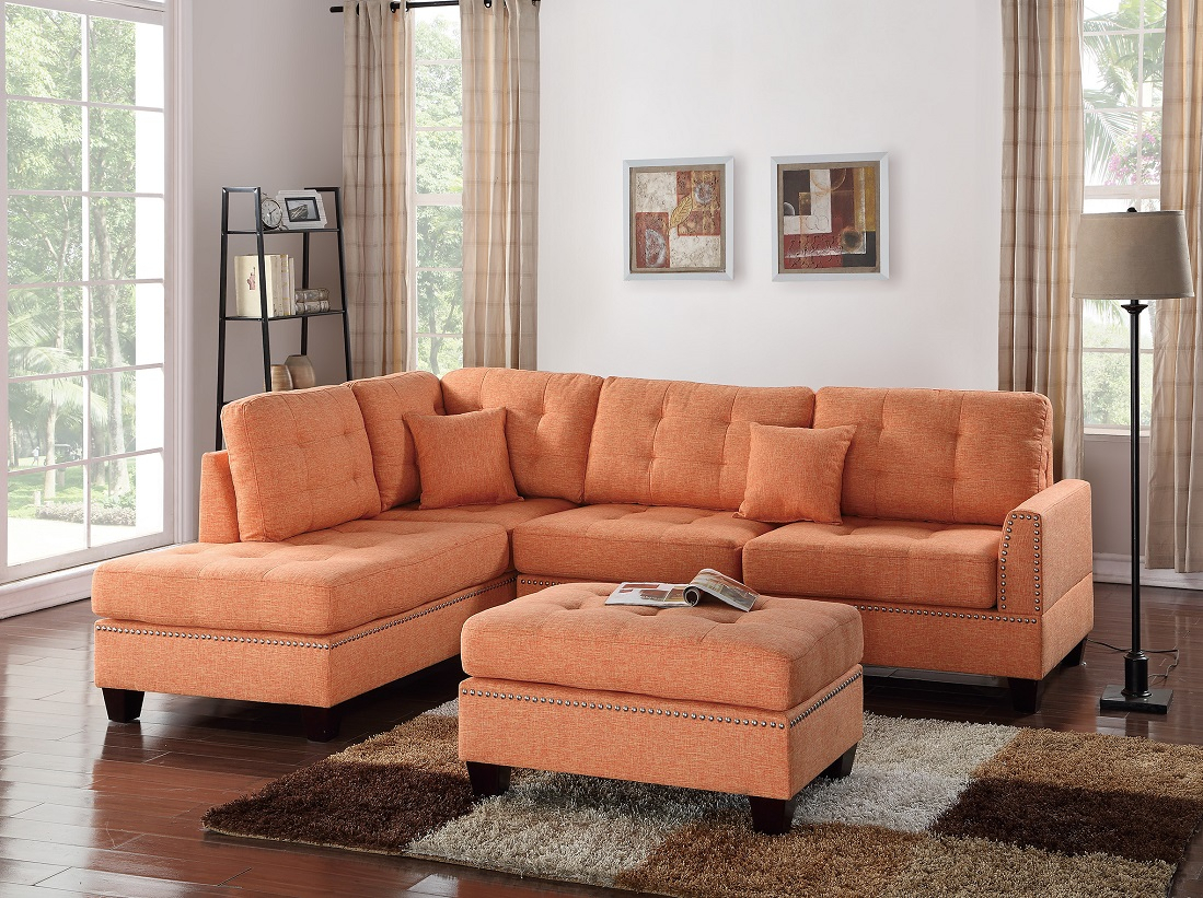 3 Piece Sectional Sofa Reversible Chaise Ottoman Citrus Inside Palisades Reversible Small Space Sectional Sofas With Storage (View 6 of 15)