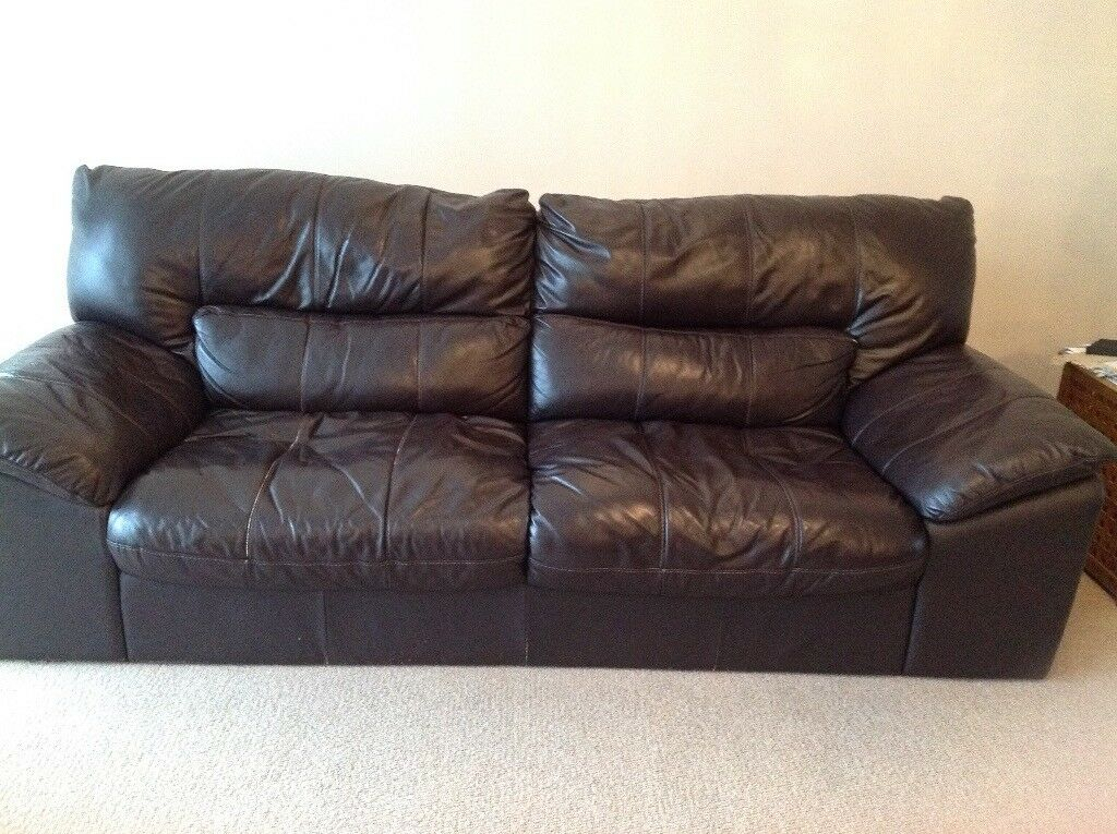 3 Seater Brown Leather Dfs Sofa | In Morley, West Pertaining To 3 Seater Leather Sofas (View 15 of 15)