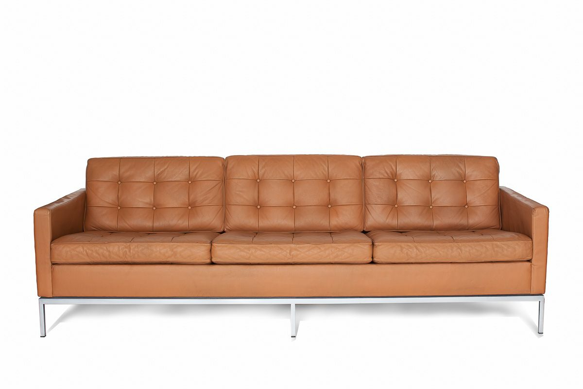 3 Seater Leather Sofa | Florence Knoll | Knoll Int (View 2 of 15)